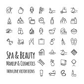 Spa, Beauty, makeup and cosmetics thin line vector icons set for your design