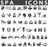 Spa icons set on a white background with a shadow
