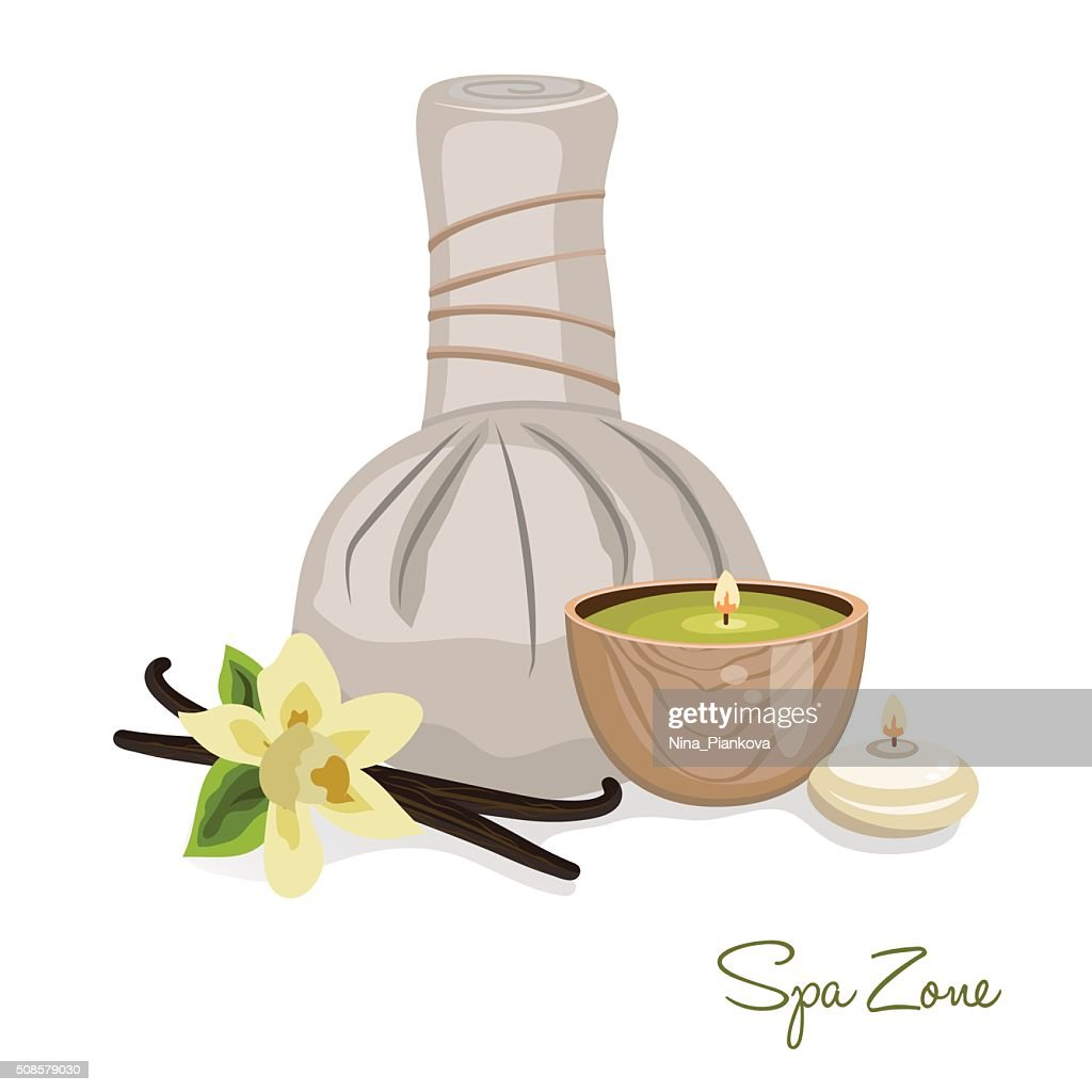 Spa theme object on white background. : Vector Art