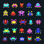Space aliens vintage video computer arcade game pixel vector icons. Illustration of pixel monsters