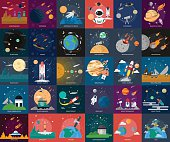 Set of great flat icons design illustration concepts for space, universe, galaxy, astrology, planet and much more.