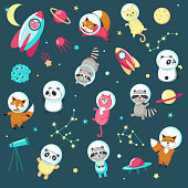 Space icon set. Vector illustration of cute animals astronauts panda, raccoon, cat and fox in outer space, rockets, UFO, planets, constellations, stars.