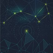Space background with the constellation and the mountains. Vector illustration