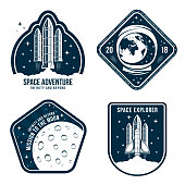 Space badges with astronaut helmet, rocket launch and moon. Set of vintage astronaut label or patch for embroidery in space concept. T-shirt graphic, emblem design. Vector