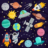 Space cartoon astronomy spacecraft set vector. Colorful transportation star science planet collection. Spaceship cute technology travel rocket art.