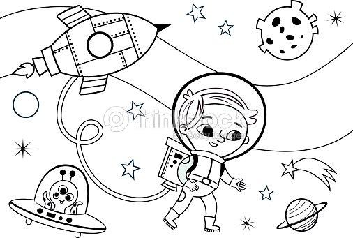 Espacio Página Para Colorear Para Niños Arte vectorial | Thinkstock