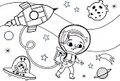 Space illustration for a coloring book or coloring page. (Vector illustration)