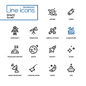 Space concept - line design icons set. Black pictograms. Saturn, comet, astronaut, telescope, orbital station, lunar rover, space exploration, earth, rocket, stars, radio, constellation, moon, ufo