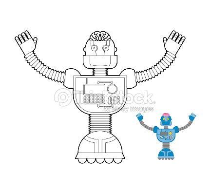 Robot Libro Para Colorear Espacio Cybernetic Mecanismo Artificial ...