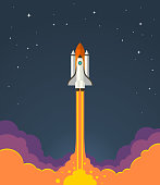 Vector illustration of starting space rocket with smoke clouds on dark night sky background.