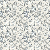 space, seamless illustration of pattern decoration and design background in the style of childrens drawings vector