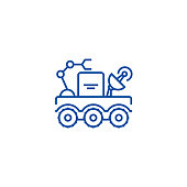 Space vehicle line concept icon. Space vehicle flat  vector website sign, outline symbol, illustration.
