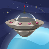 Ufo spaceship icon in cartoon style