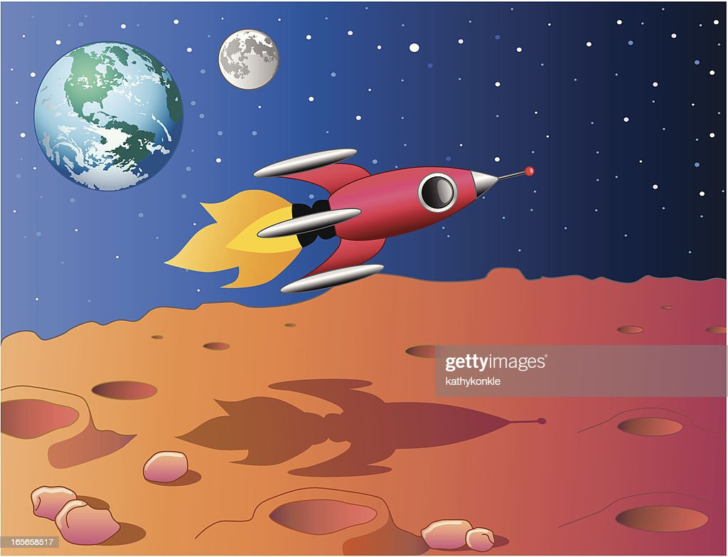 Spaceship Flying Over Mars Vector Art | Getty Images