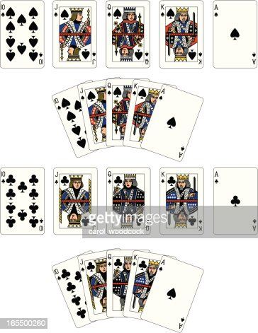 Spade and Club Suit Royal Flush playing cards : Vector Art
