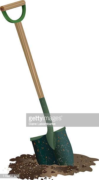 Spade Shovel with wooden handle Digging in pile of Soil