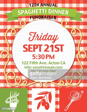 Spaghetti Dinner Fundraiser Invitation Vertical Template On Red