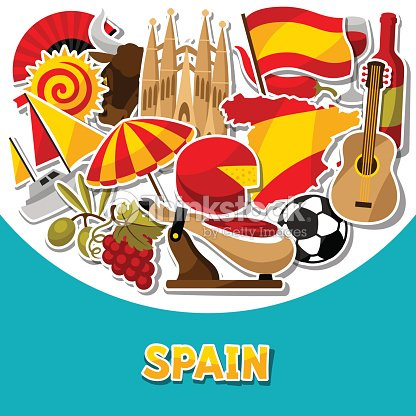 Spain. Symbols of cities stock vector. Illustration of ...