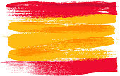 Spain colorful brush strokes painted national country flag icon. Painted texture.