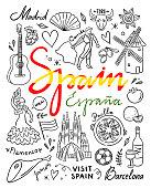 Spain hand drawn illustrations. Visit Spain traveling vector doodles