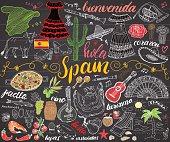 Spain hand drawn sketch set vector illustration chalkboard.