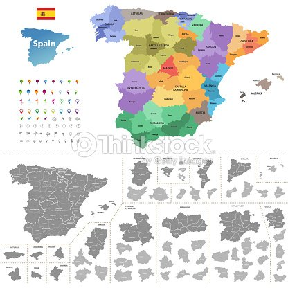 Labeled Map Of Spain.Spain High Detailed Vector Map With Administrative Divisions All