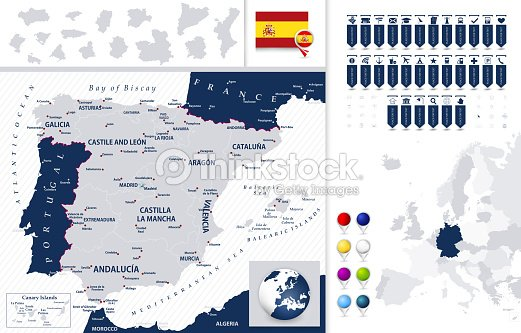 Map Of Spain With States.Spain Map And Its States With Navigation Map Pointers Vector Art