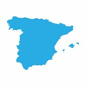 Spain map on blue background, Vector Illustration