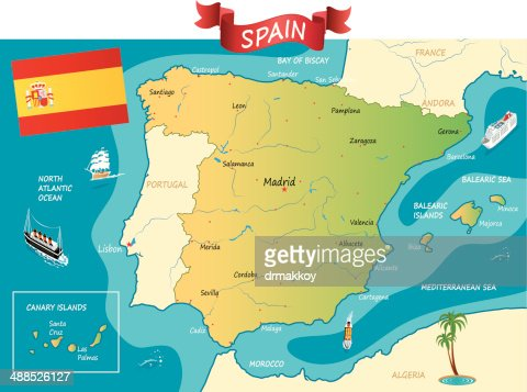 Spain Map Vector Art Getty Images - Portugal map sea