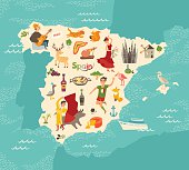 Spain map vector. Illustrated map for children. Cartoon atlas of Spain with flamenco, guitar, sangria, paella, bullfight and jamon. Travel map
