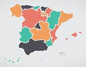 Spain Map with states and modern round shapes