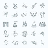 Spain traditional symbols set. Travel vector element