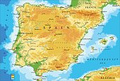 Highly detailed physical map of Spain in vector