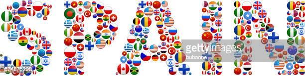 Spain World Flags Vector Buttons