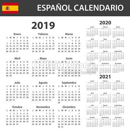 Calendario 2019 2020.Spanish Calendar For 2019 2020 And 2021 Scheduler Agenda Or Diary