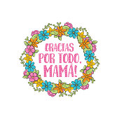 thanks for everything, mom. Spanish mothers day greeting. Sweet floral message with happy wishes, card to express gratitude, love and reverence on beautiful holiday. Vector flat style cartoon illustra