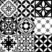 Repetitive wallpaper background inspired by ceramic tiles from Spain or Morocco, mosaic with flowers