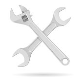 Spanner and adjustable wrench. Metal tools. Vector 3d illustration isolated on white background