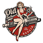 86e327e5b22 Spark Plug Pin Up Girl illustration with piston and wrench. Vintage style.  (Color