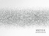 Sparkling glitter border isolated on transparent background. Silver rectangle of glitter confetti, vector dust. Great for wedding invitations, party posters, christmas and birthday cards.