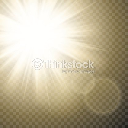 Sparkling Sun Rays With Hot Spot And Flares Flare Effect On Transparent Vector Background