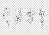Underwater fizzing air bubbles  stream on transparent   background. Fizzy drink. Soda pop. Champagne. Sparkling water. Undersea vector texture.