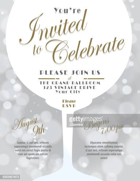 Sparkling wine tasting invitation template design silver background
