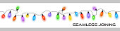 Sparkly festive christmas fairy lights multicolored - Vector can be seamlessly joined end on end to create any length