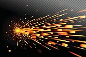 Sparks effect on transparent background. Glow special effect, vector art and illustration.