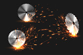 sparks from rotating circular saw in vector