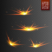 Sparks isolated on transparent background. Vector illustration