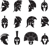 Silhouettes spartan helmet isolated from the background. Vector set of roman or greek warrior helmet. Helmets spartan soldiers in the side and front view.
