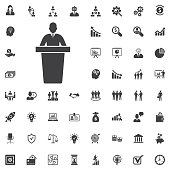 speaker black icon. orator speaking from tribune vector illustration on white background. Business set of icons