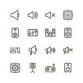Speaker icon set. Collection of high quality outline sound pictograms in modern flat style. Black music symbol for web design and mobile app on white background. Audio line logo.